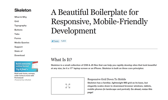 Skeleton - Responsive Web Design Templates and Frameworks
