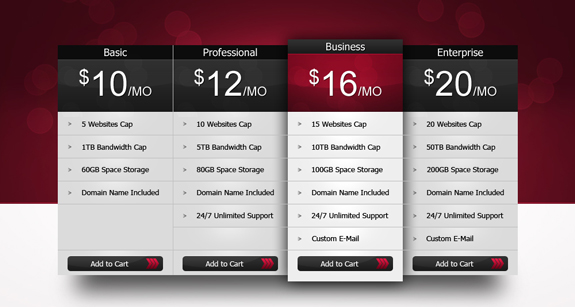 Freebie: Professional Pricing Table ( PSD )