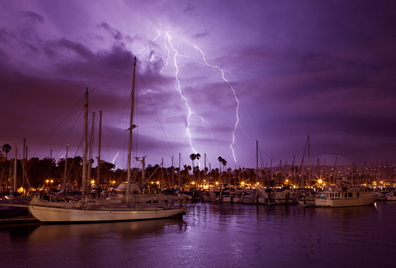 Lightning Photography - Behind Santa Barbara Harbor
