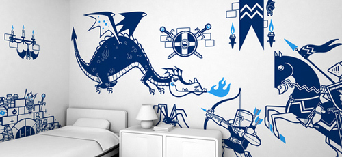 Knights Vs Dragon - Wall Stickers