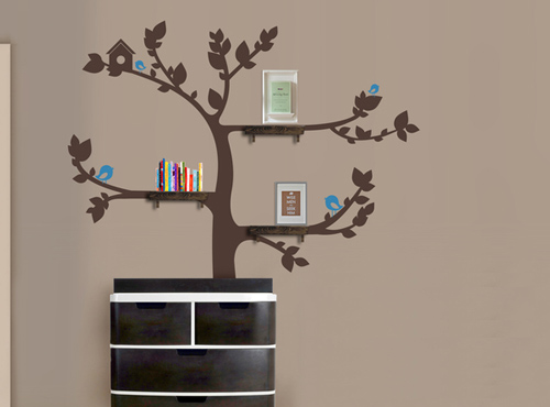 Tree With Shelves - Wall Stickers