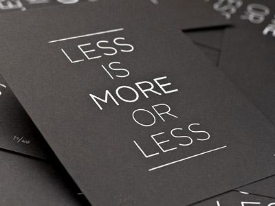 Less is More - Postcard Design