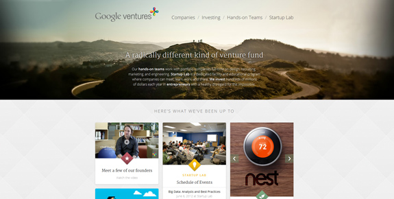 Google Ventures - Wide Website Design