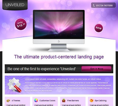 focused landing page