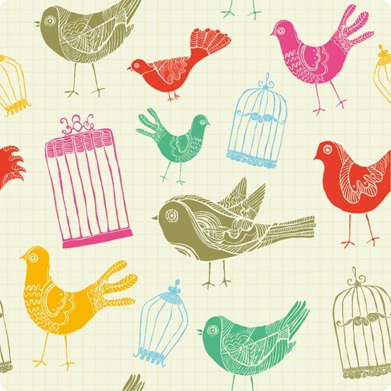 Seamless Background with Birds and Birdcages
