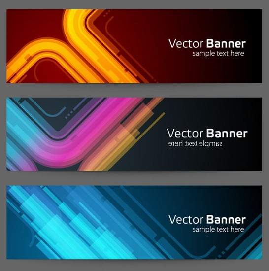 Abstract Banner Background Vector Set