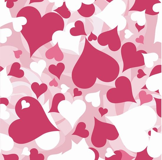 Valentine Seamless Hearts Pattern Vector Background