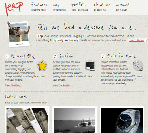Leap - Unique Personal Blog / Portfolio Theme