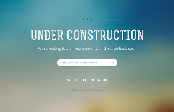 Under Construction Page PSD Template 01