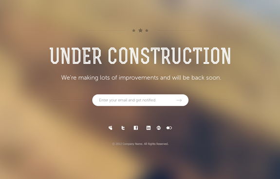 Under Construction Page PSD Template 05