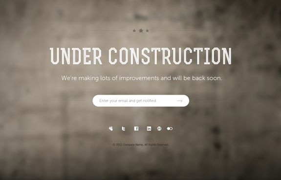 Under Construction Page PSD Template 07