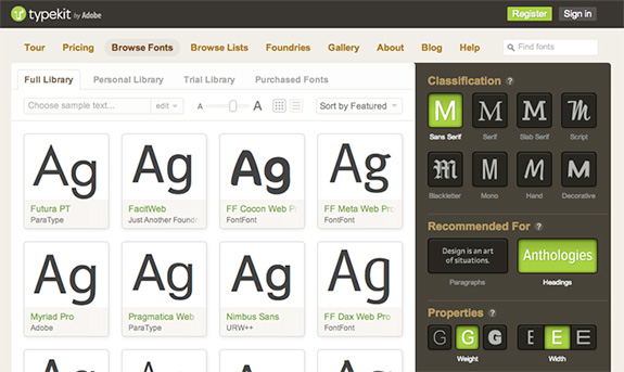Access to Typekit's Web Fonts