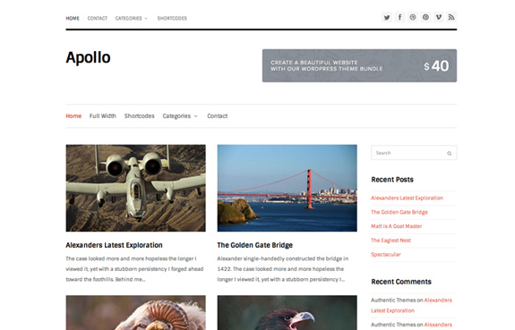 Apollo - Free WordPress Blog Theme