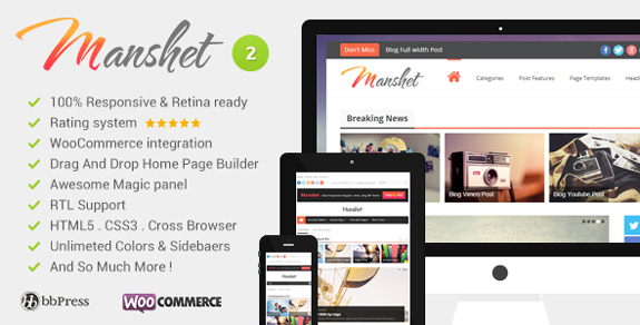 Manshet Retina Responsive WordPress News, Magazine