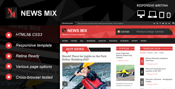 News-mix Responsive Magazine WordPress Theme