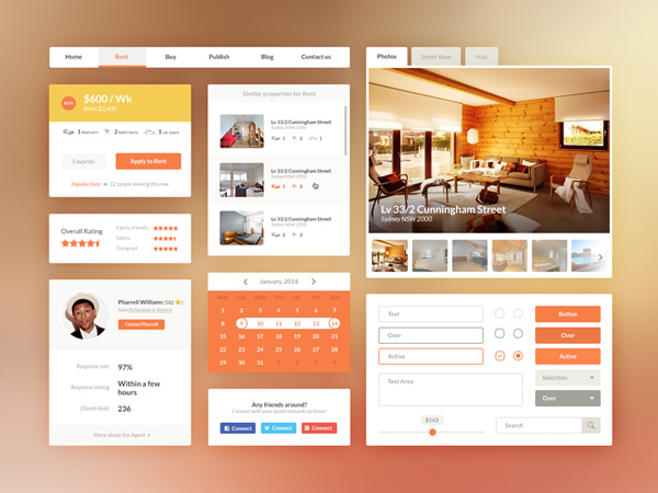 Free UI Kit PSD - Real Estate/Booking